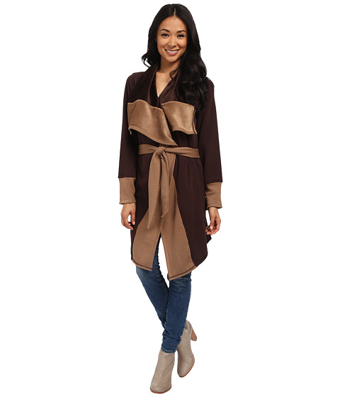Mod-o-doc - Fleece Velour Two-Tone Oversized Collar Tie Front Coat (Cocoa) Women's Coat