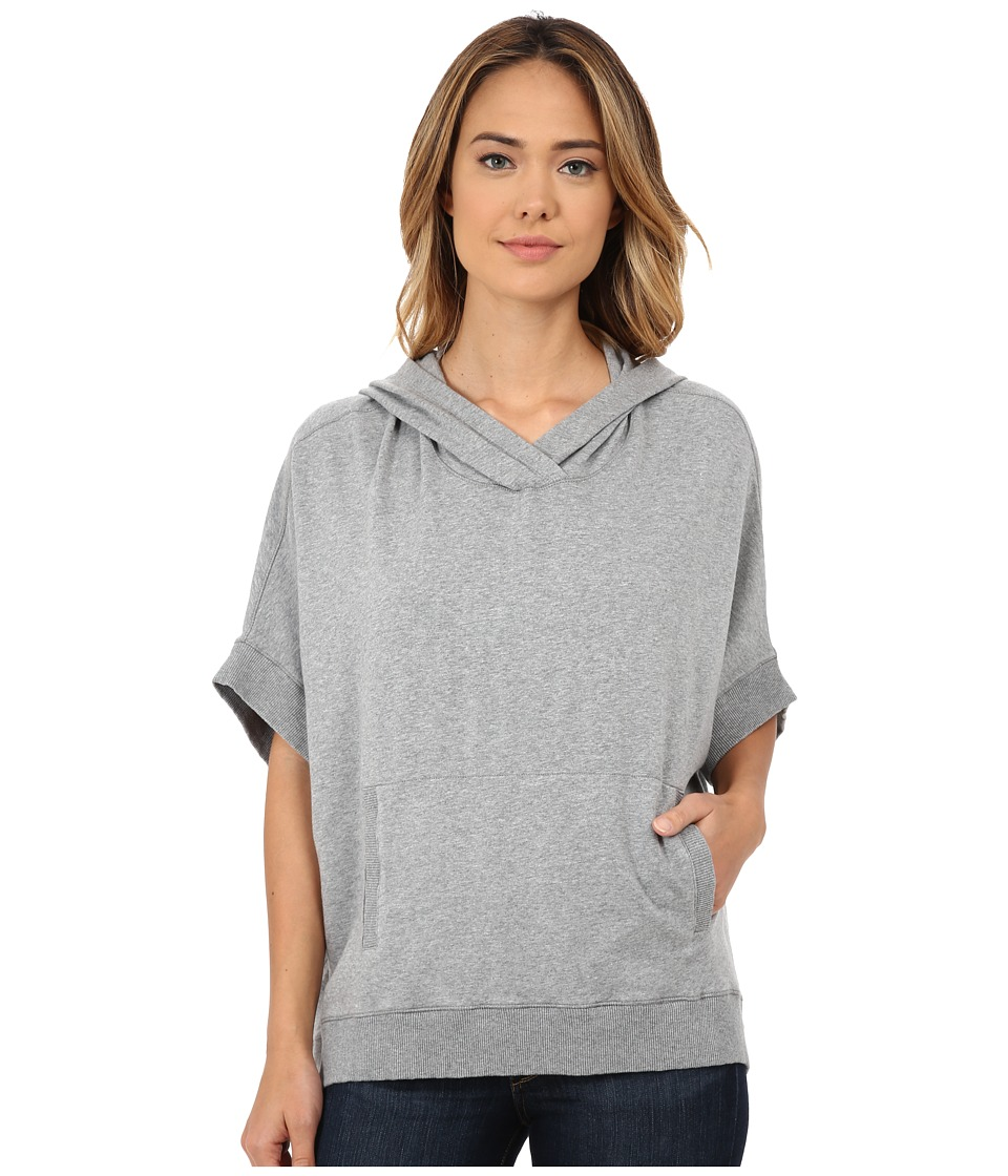 Mod-o-doc - Cotton Modal Fleece Boxy Hooded Poncho (Granite Heather) Women's Coat