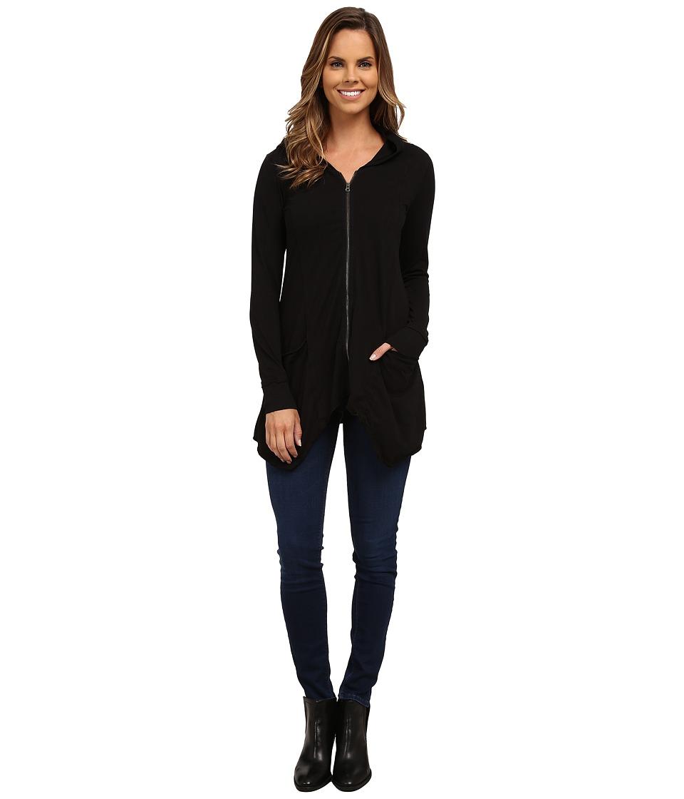 Mod-o-doc - Classic Jersey Hanky Hem Zip Hoodie (Black) Women's Sweatshirt
