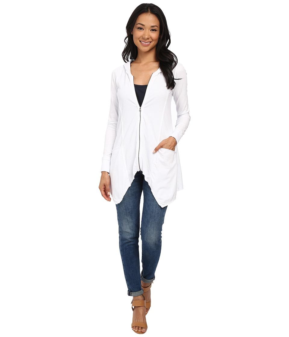 Mod-o-doc - Classic Jersey Hanky Hem Zip Hoodie (White) Women's Sweatshirt