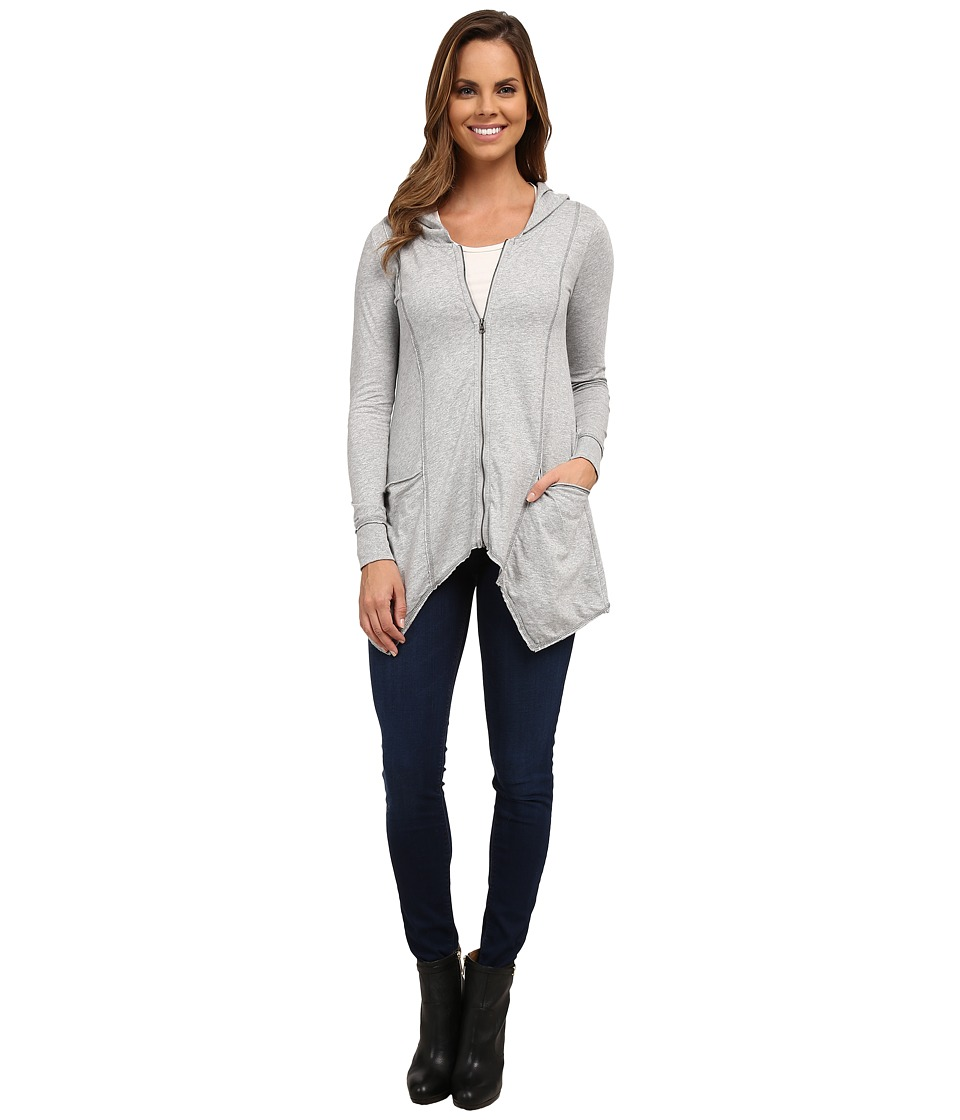 Mod-o-doc - Classic Jersey Hanky Hem Zip Hoodie (Heather Grey) Women's Sweatshirt