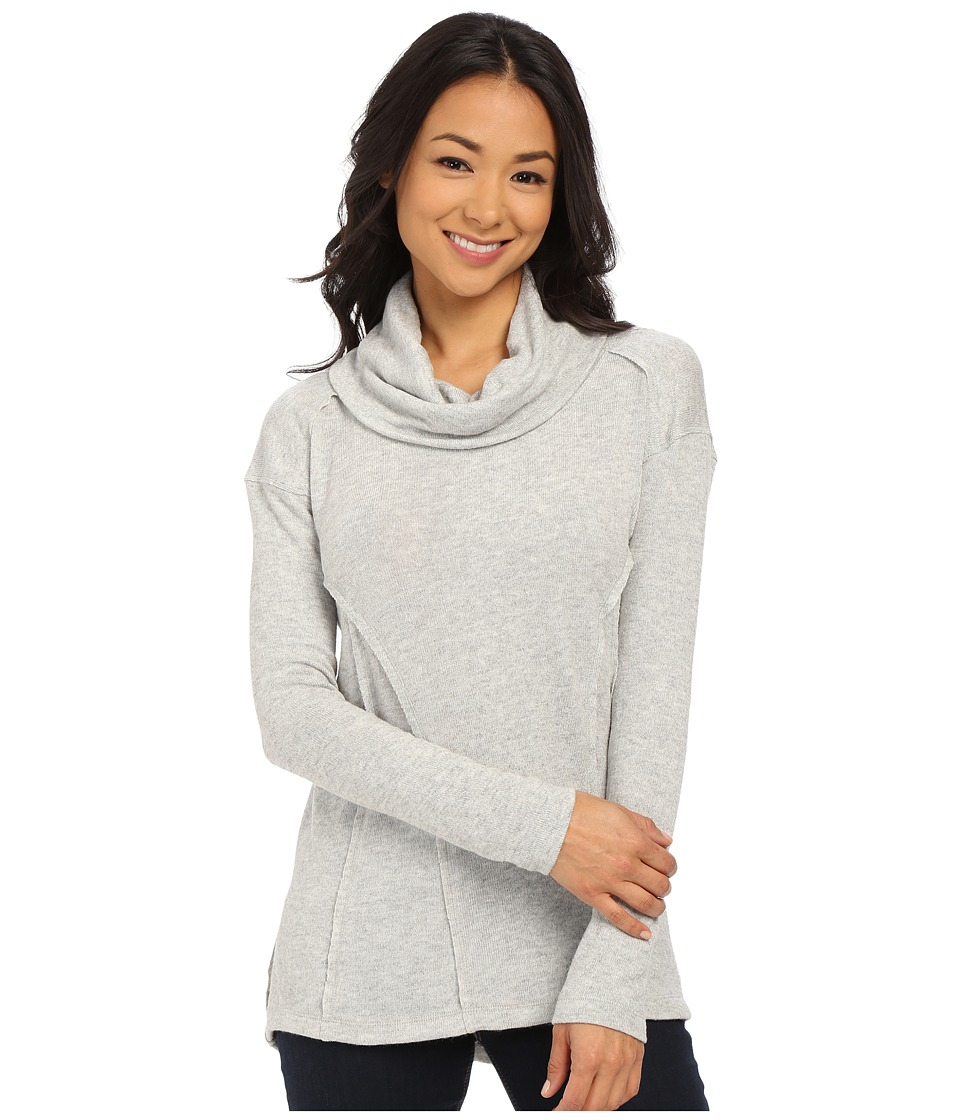 Mod-o-doc - Luxe Heather Sweater Knit Long Sleeve Drape Cowl Neck Pullover (Ash Heather) Women's Long Sleeve Button Up
