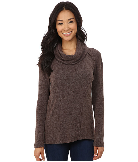 Mod-o-doc - Long Sleeve Drape Cowl Neck Pullover (Brown Heather) Women