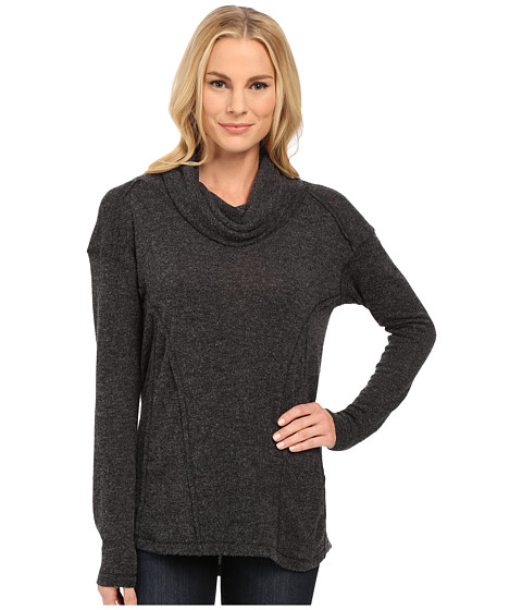 Mod-o-doc - Luxe Heather Sweater Knit Long Sleeve Drape Cowl Neck Pullover (Black Heather) Women