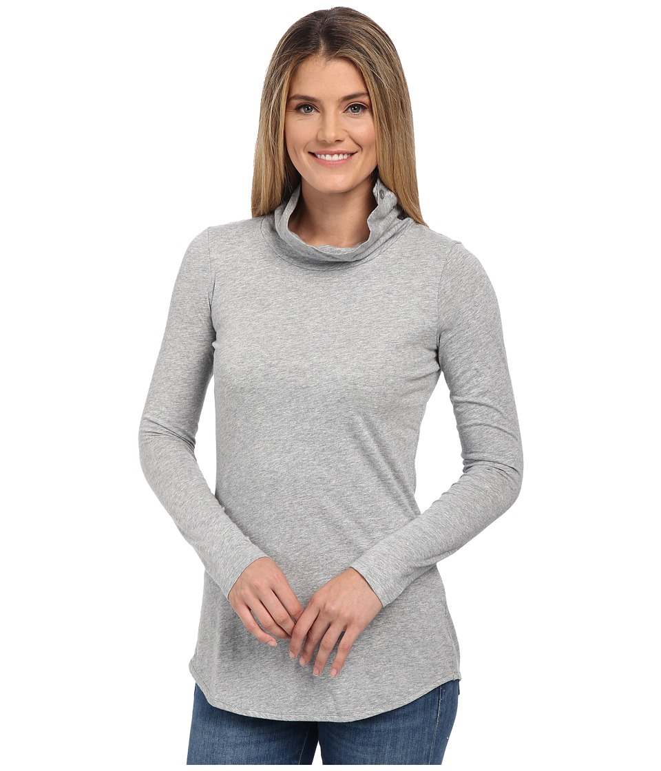 Mod-o-doc - Supreme Jersey Long Sleeve Button Up Turtleneck (Smoke Heather) Women's Clothing