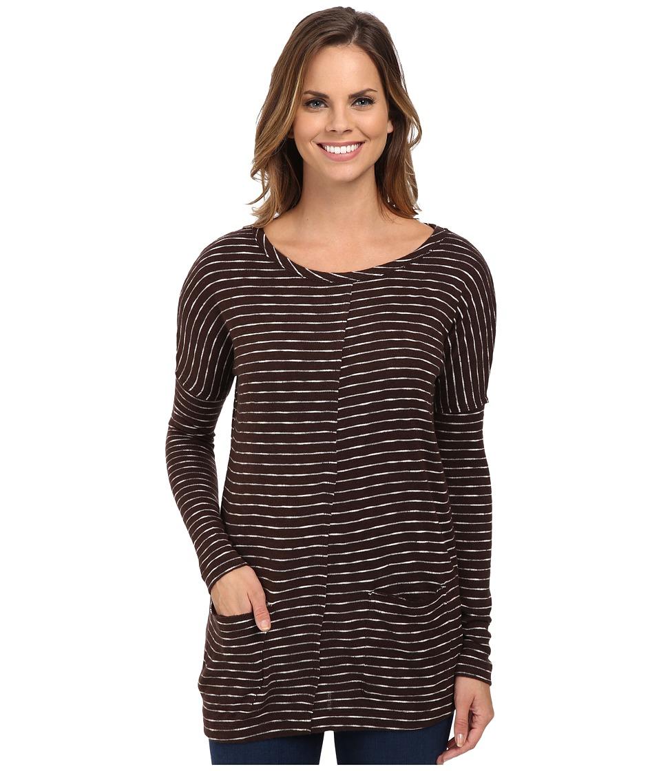 Mod-o-doc - Mini Stripe Sweater Seamed Boxy Pullover (Cocoa) Women's Sweater