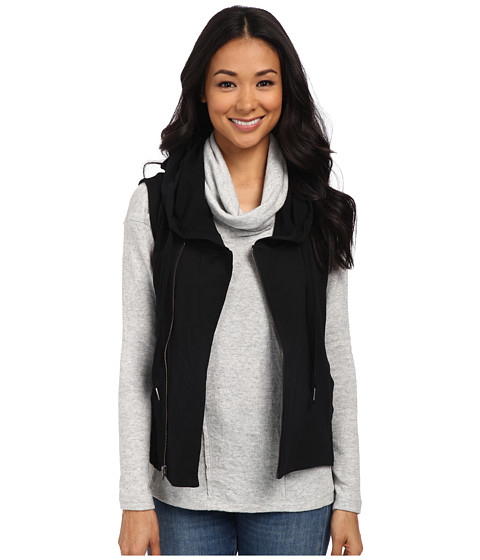 Mod-o-doc - Sleeveless Zip Moto Hoodie (Black) Women's Sweatshirt