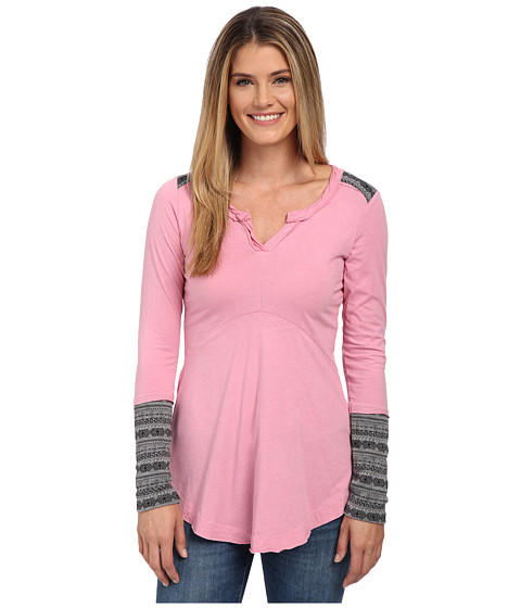 Mod-o-doc - Classic Jersey Twisted Notch Collar with Contrast Pattern (Rosy) Women's Clothing