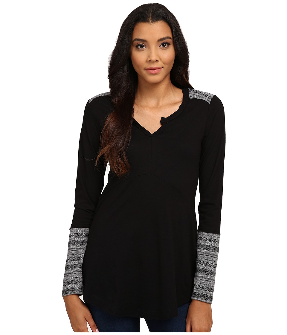 Mod-o-doc - Classic Jersey Twisted Notch Collar with Contrast Pattern (Black) Women's Clothing