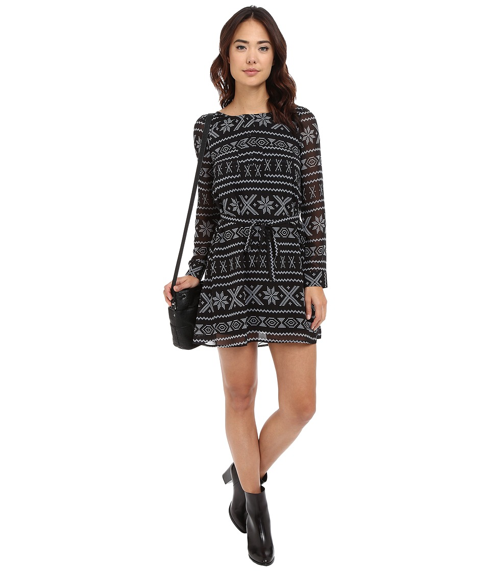 Jack by BB Dakota - Bede Fair Isle Printed Chiffon Dress (Black) Women's Dress