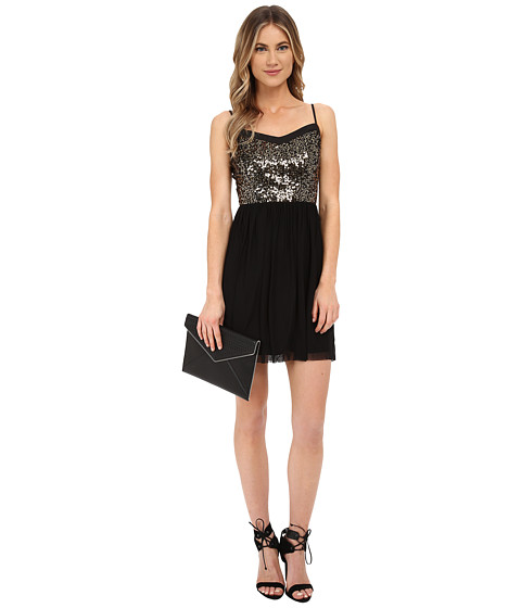 Jack by BB Dakota - Carrian Sequin Bodice and Black Mesh Dress (Black) Women's Dress