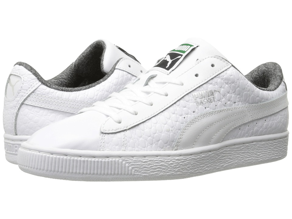 PUMA - Basket Classic Textured (White) Men's Basketball Shoes