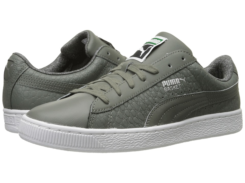 PUMA - Basket Classic Textured (Castor Gray) Men's Basketball Shoes