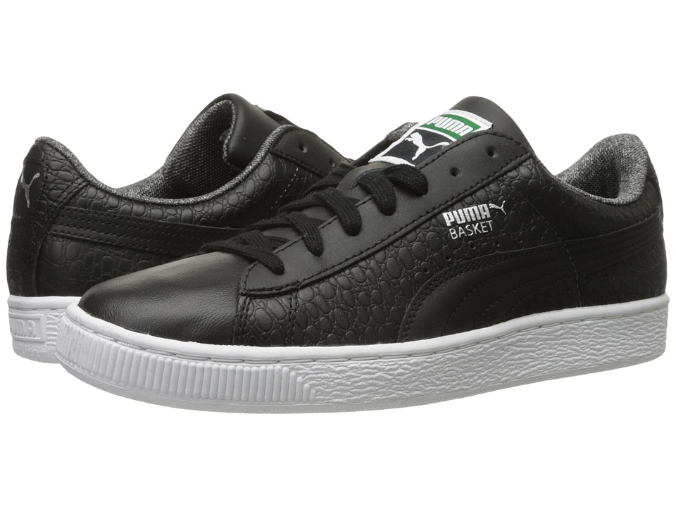 PUMA - Basket Classic Textured (Black) Men's Basketball Shoes