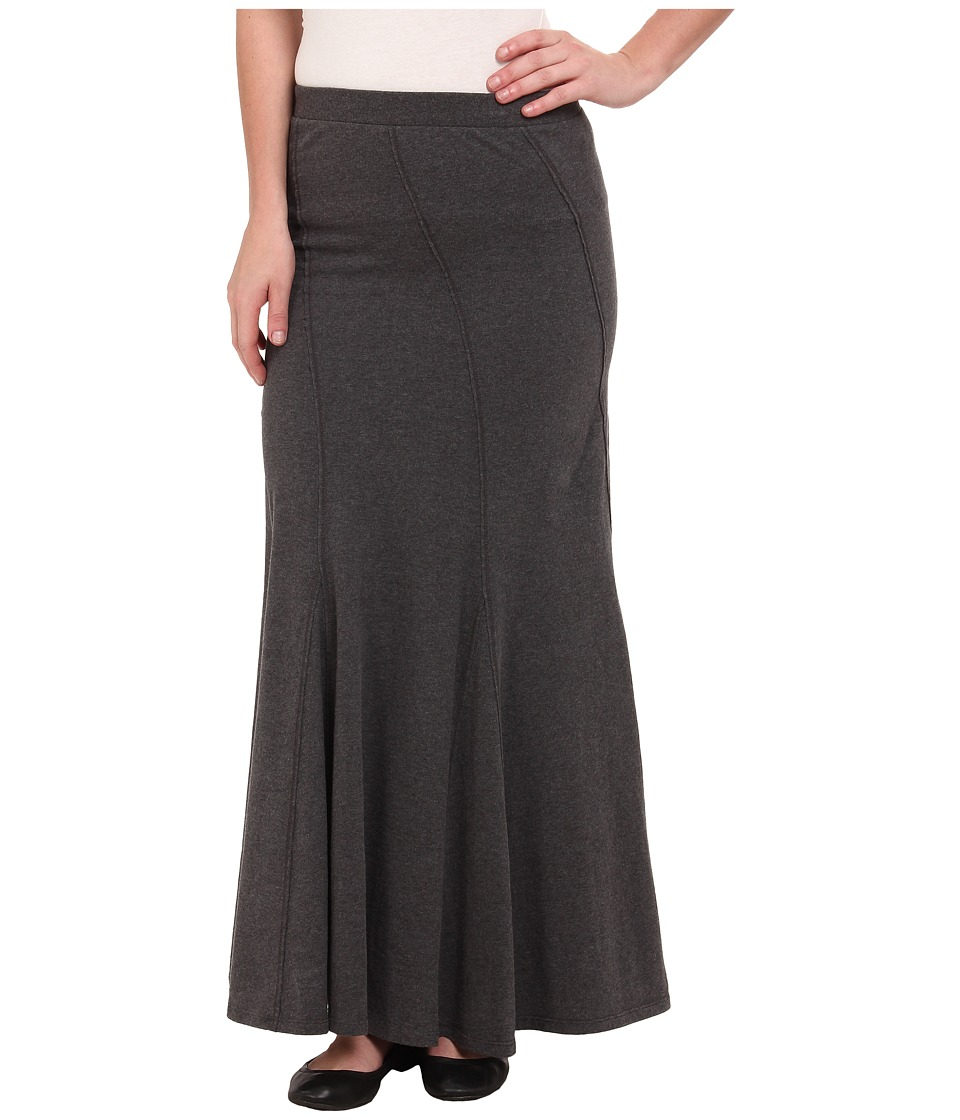Mod-o-doc Classic Jersey Seamed Godet Maxi Skirt (Midnight Heather) Women