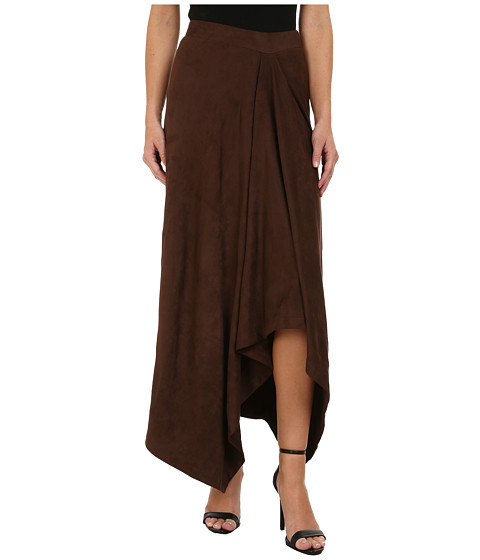 Mod-o-doc - Hi-Low Hem Skirt (Brown) Women