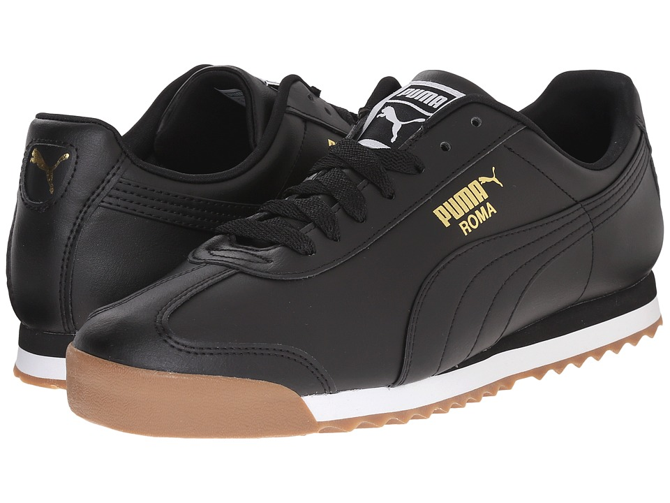 PUMA - Roma Basic (Black/Black/Gum) Men's Shoes