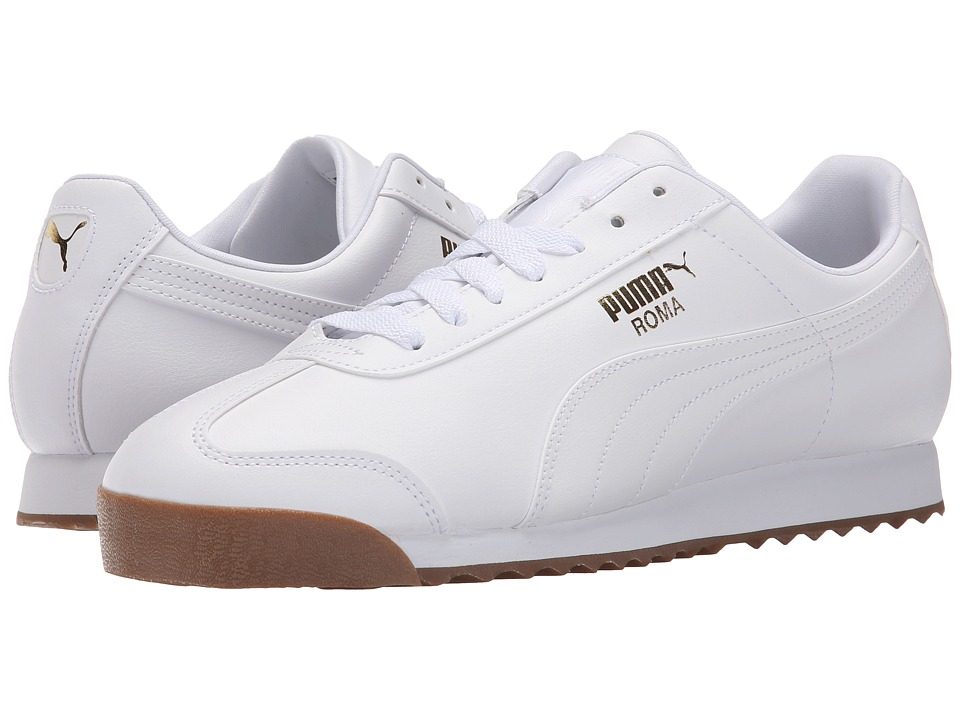 PUMA - Roma Basic (White/White/Gum) Men's Shoes
