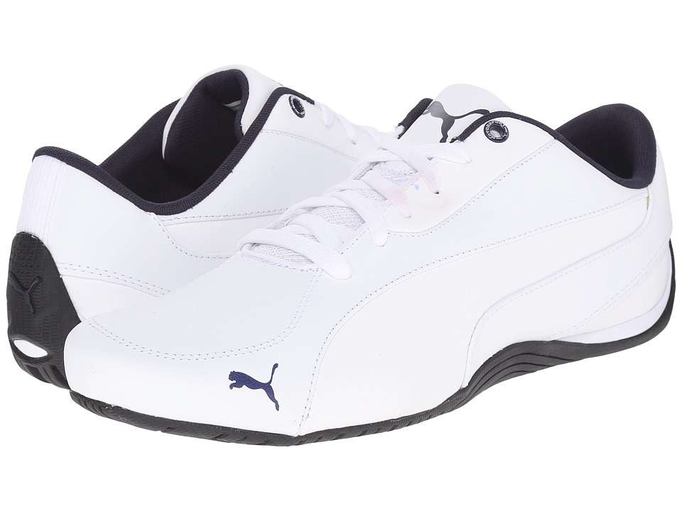 PUMA - Drift Cat 5 Leather (White/Peacoat) Men's Shoes