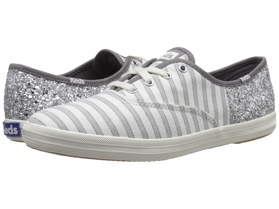 Keds - Champion Cabana Stripe/Glitter (Drizzle Gray/Silver) Women's Lace up casual Shoes