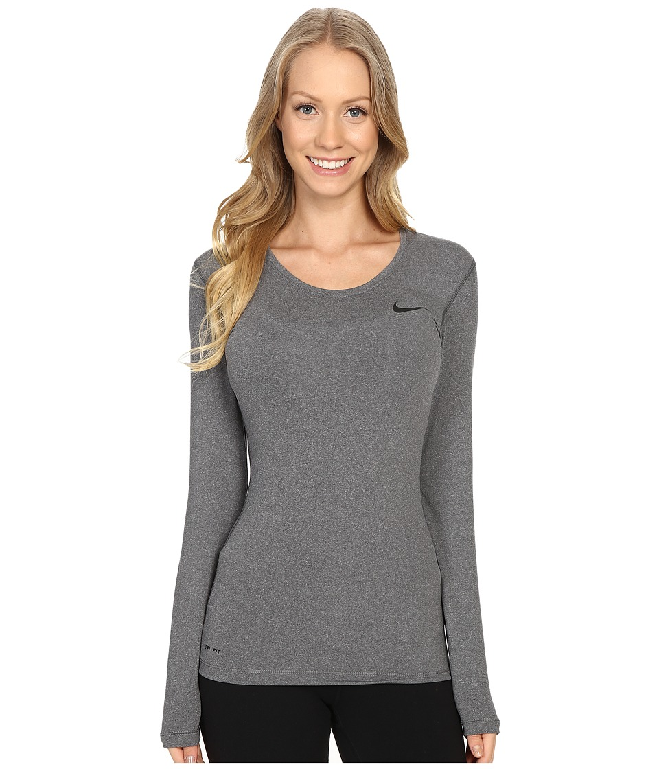 Nike - Pro Cool Training Top (Dark Grey/Heather/Black) Women's Long Sleeve Pullover