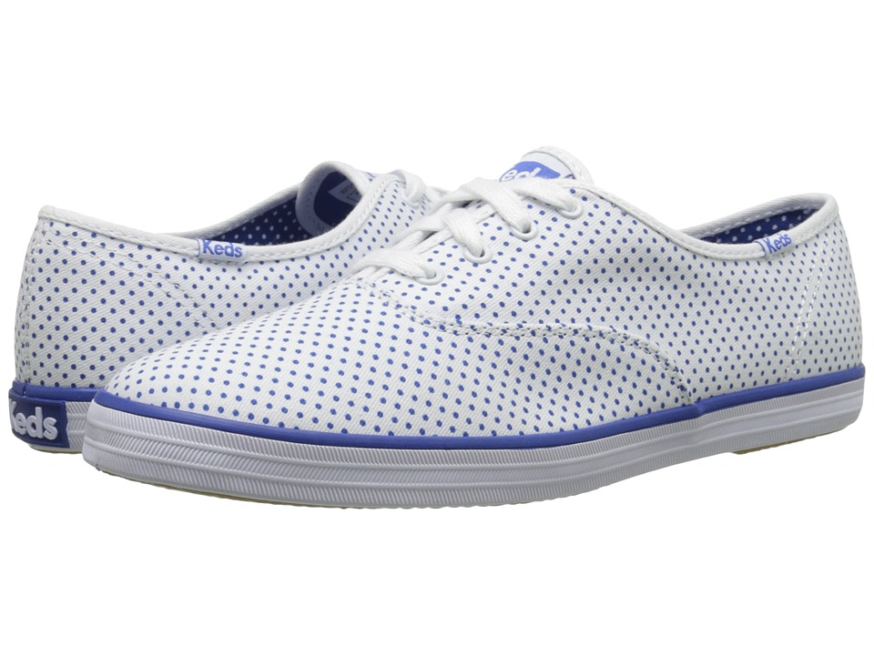Keds - Champion Micro Dot (White/Blue Twill) Women