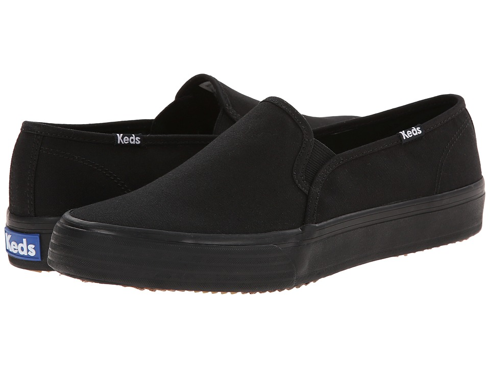 Keds - Double Decker Woven Canvas (Black/Black) Women's Slip on Shoes
