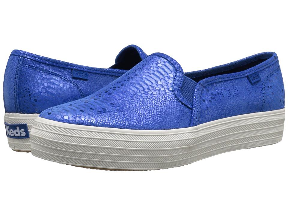 Keds - Triple Decker Exotic Shimmer (Blue) Women's Slip on Shoes