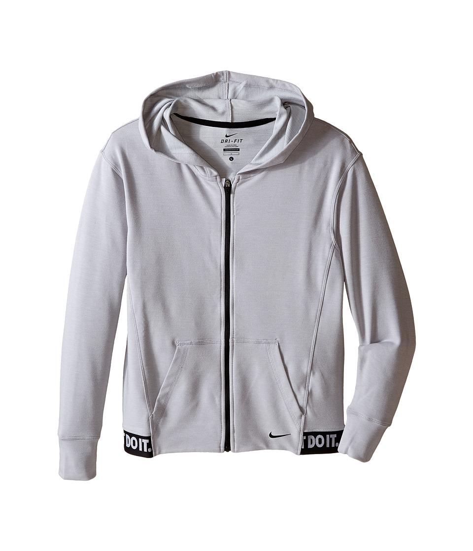 Nike Kids - Obsessed Full-Zip Hoodie (Little Kids/Big Kids) (Wolf Grey/Black/Black/Black) Girl's Sweatshirt