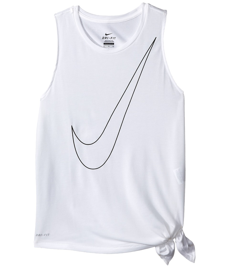 Nike Kids - Side Tie Top (Little Kids/Big Kids) (White/White/Black) Girl's Clothing
