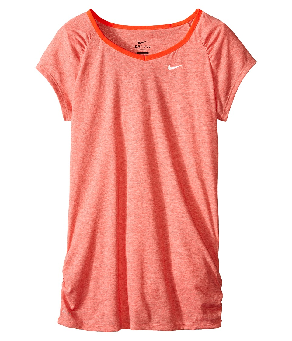 Nike Kids - YA Dri-FIT Cool S/S Top (Little Kids/Big Kids) (Light Crimson/Bright Crimson/White) Girl's Short Sleeve Pullover