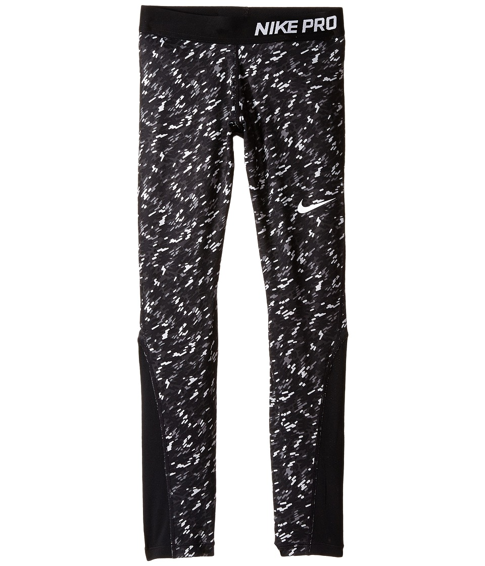 Nike Kids - Pro Cool Allover Print 1 Tight (Little Kids/Big Kids) (Anthracite/Black/Black/White) Girl's Casual Pants