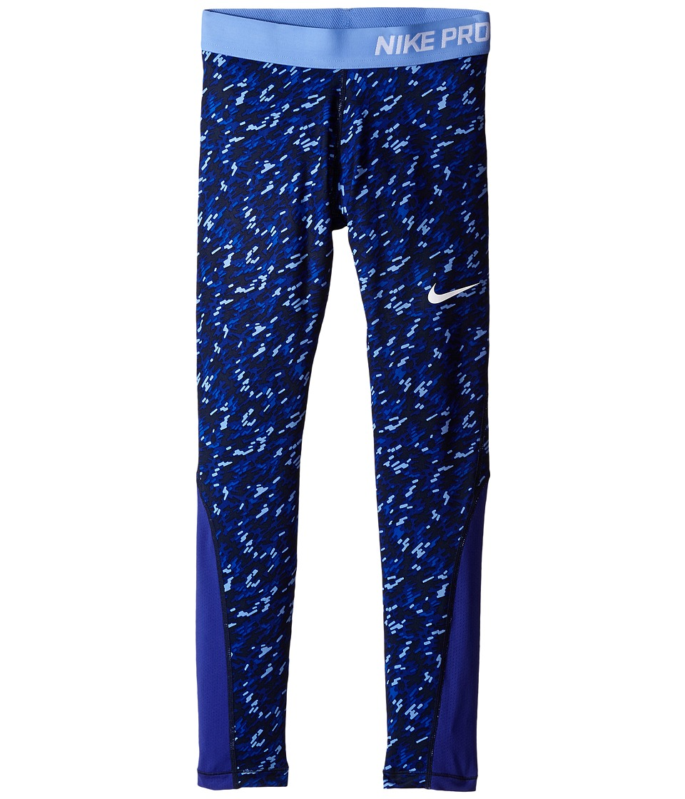 Nike Kids - Pro Cool Allover Print 1 Tight (Little Kids/Big Kids) (Deep Royal Blue/Deep Night/Chalk Blue/White) Girl's Casual Pants