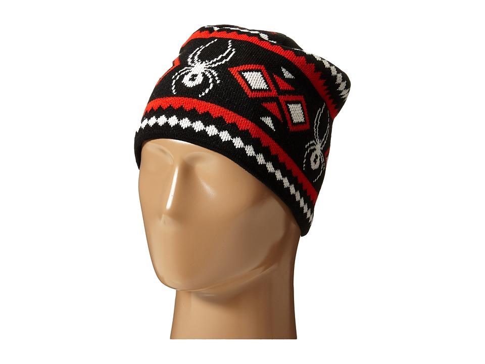 Spyder - Courmayeur Hat (Black/White/Volcano) Beanies