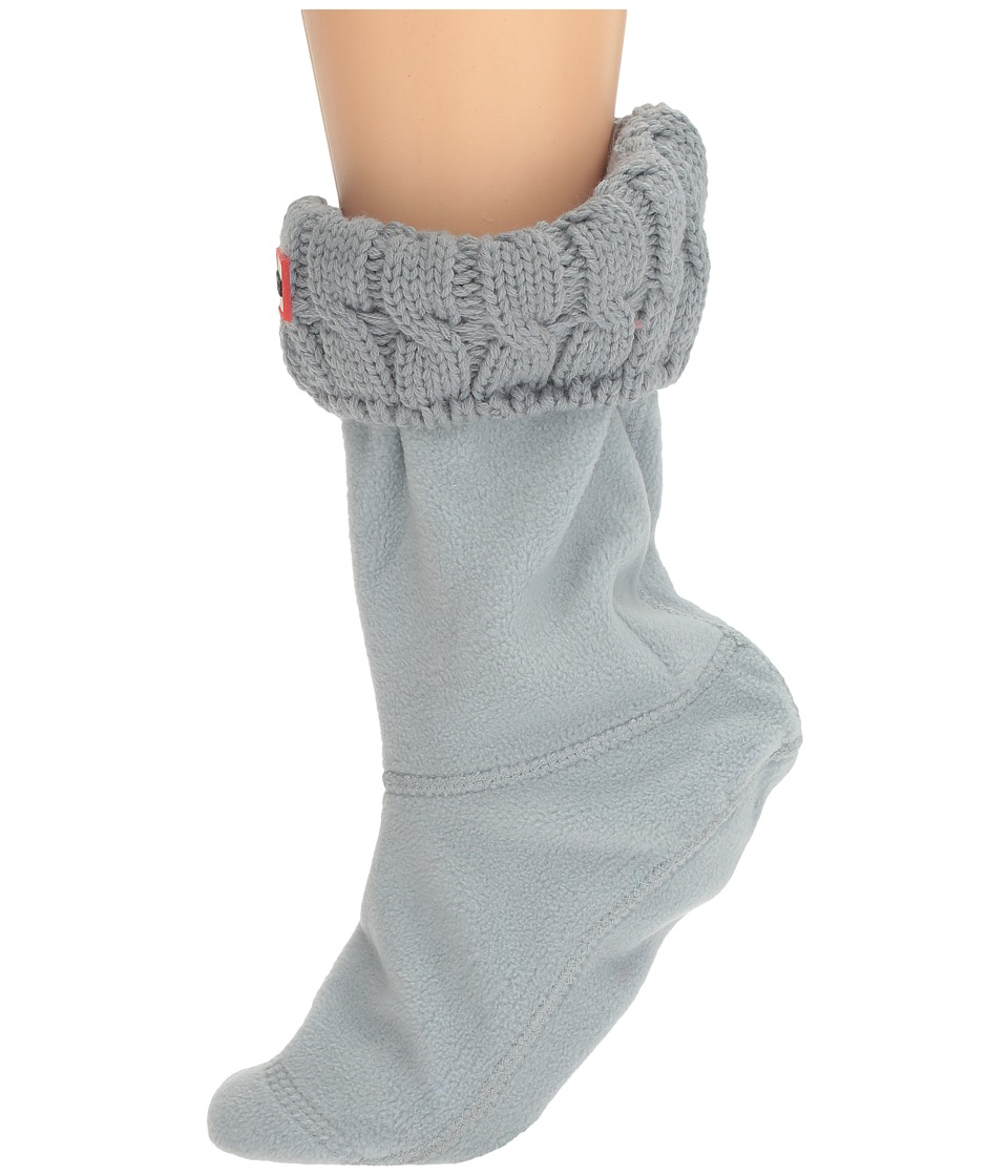 Hunter - 6 Stitch Cable Boot Sock - Short (Porcelain Blue) Women's Crew Cut Socks Shoes