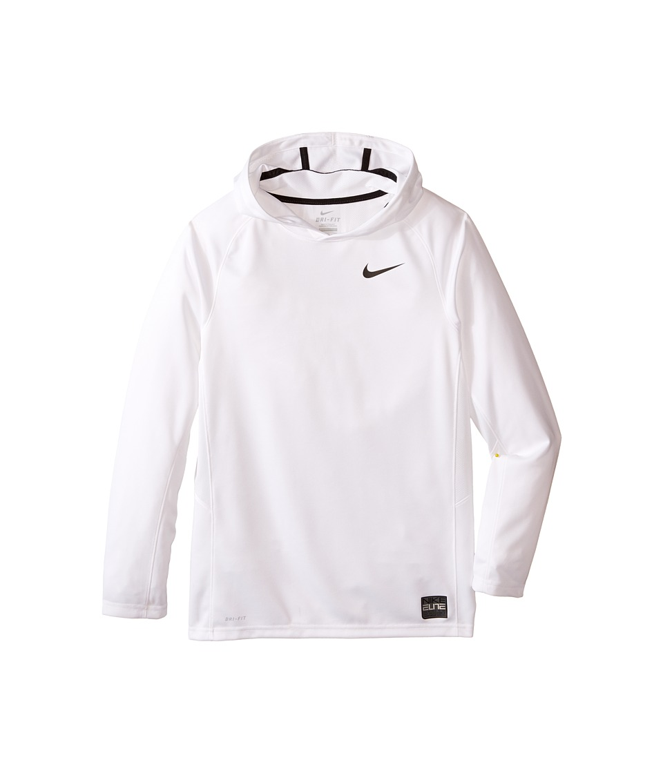 Nike Kids - Elite Hooded Shooter (Little Kids/Big Kids) (White/White/Black/Black) Boy's Sweatshirt