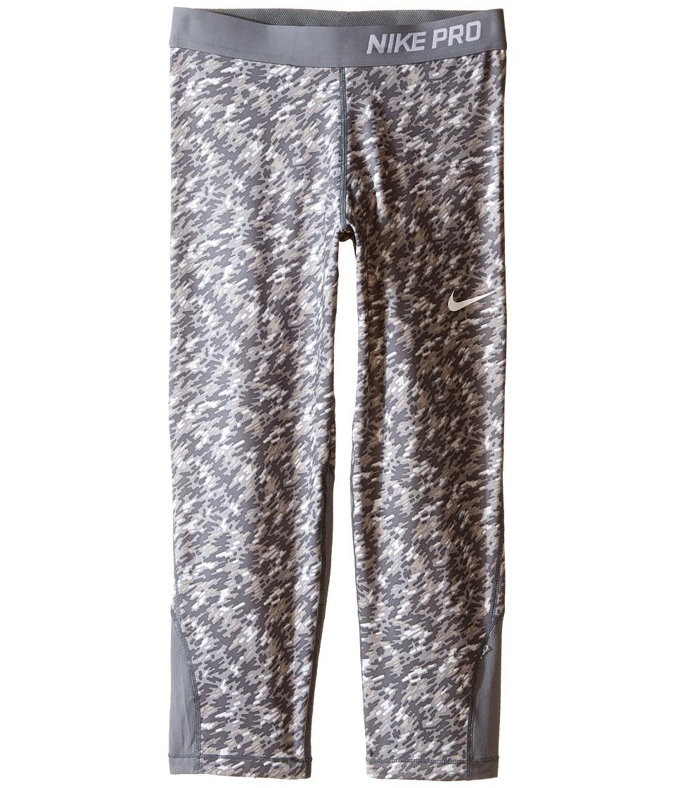 Nike Kids - Pro Cool Allover Print 1 Capri (Little Kids/Big Kids) (Wolf Grey/Cool Grey/Cool Grey/White) Girl's Capri