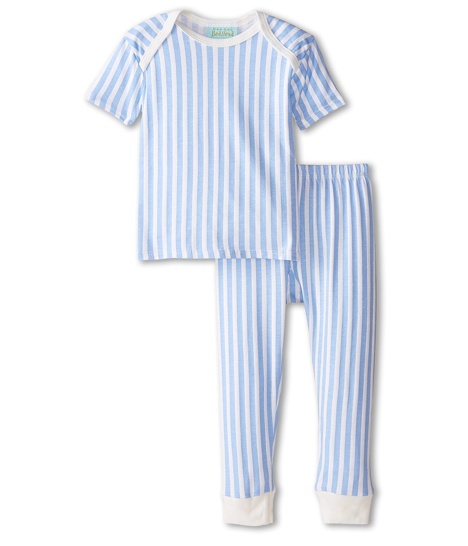 BedHead Kids - Short Sleeve Two-Piece Pants Set (Infant) (Blue 3D Stripe) Boy's Pajama Sets
