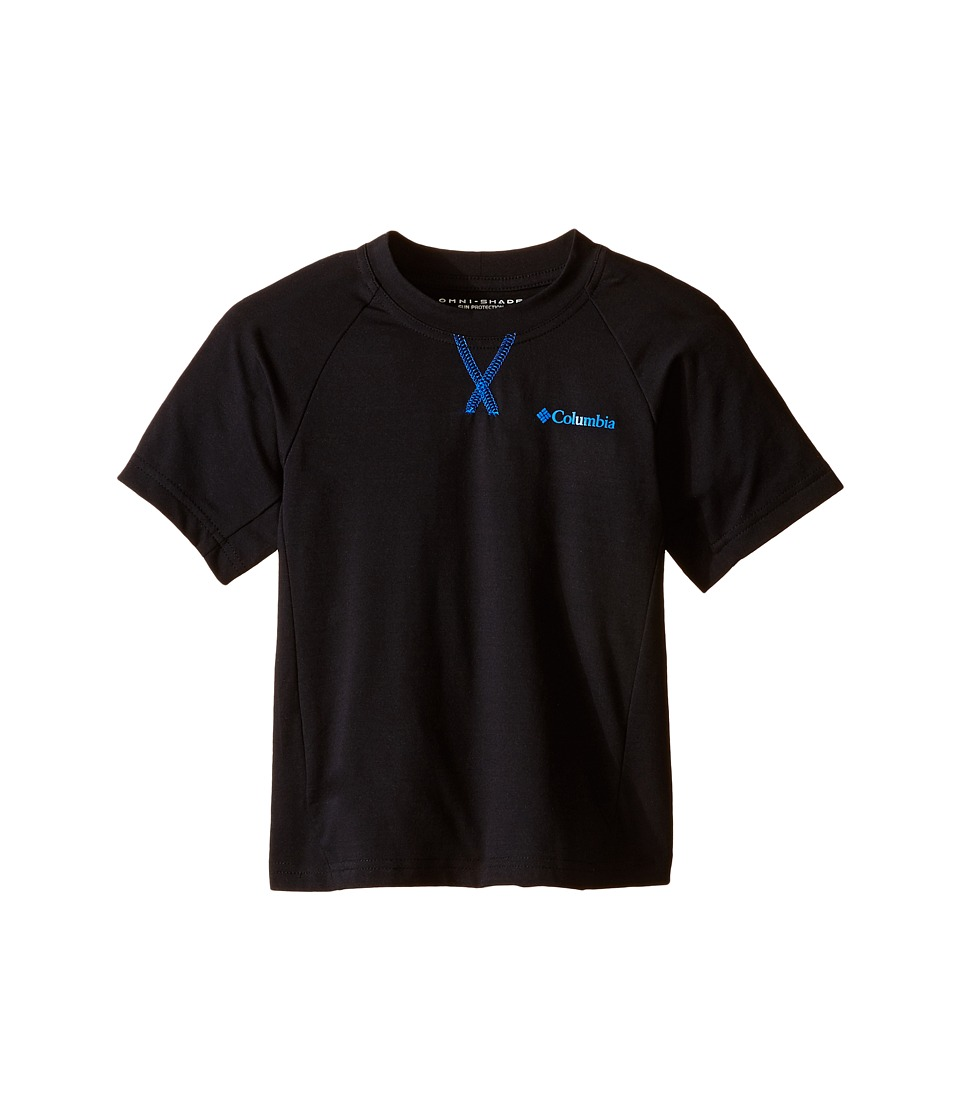 Columbia Kids - Silver Ridge Short Sleeve Tee (Little Kids/Big Kids) (Black/Super Blue) Boy's Short Sleeve Pullover