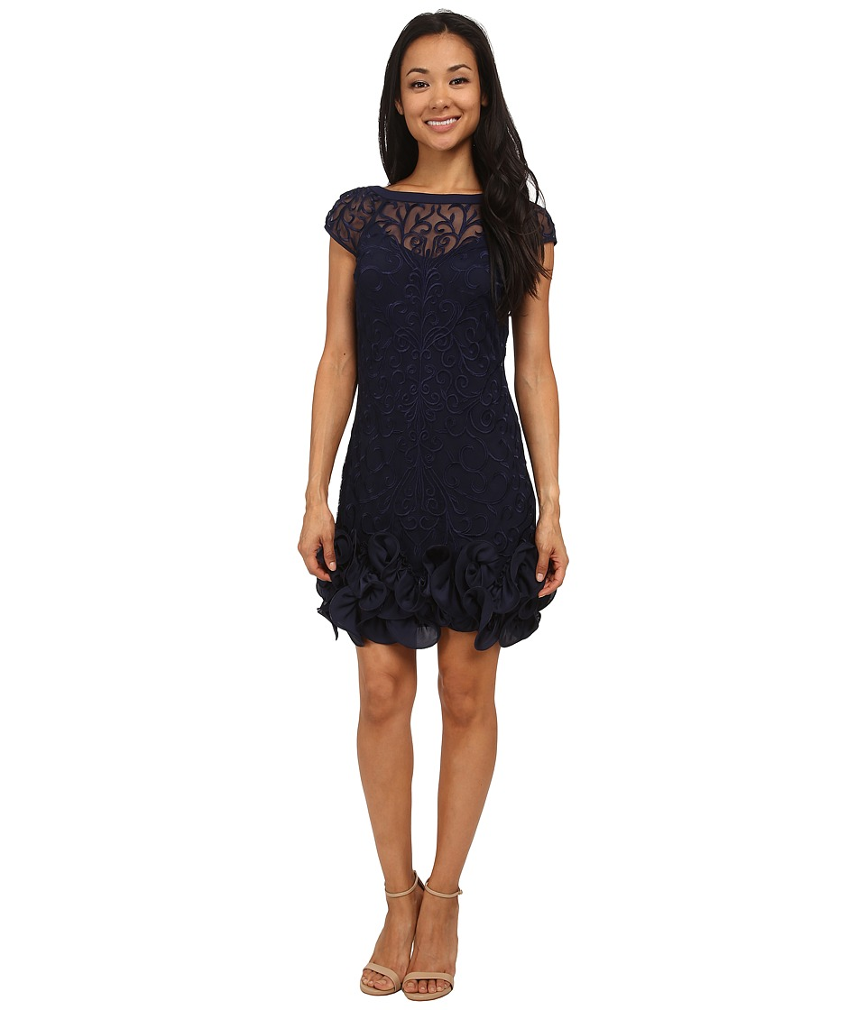 Jessica Simpson - Short Tiered Sleeve Dress with Ruffle at Hem (Navy) Women's Dress