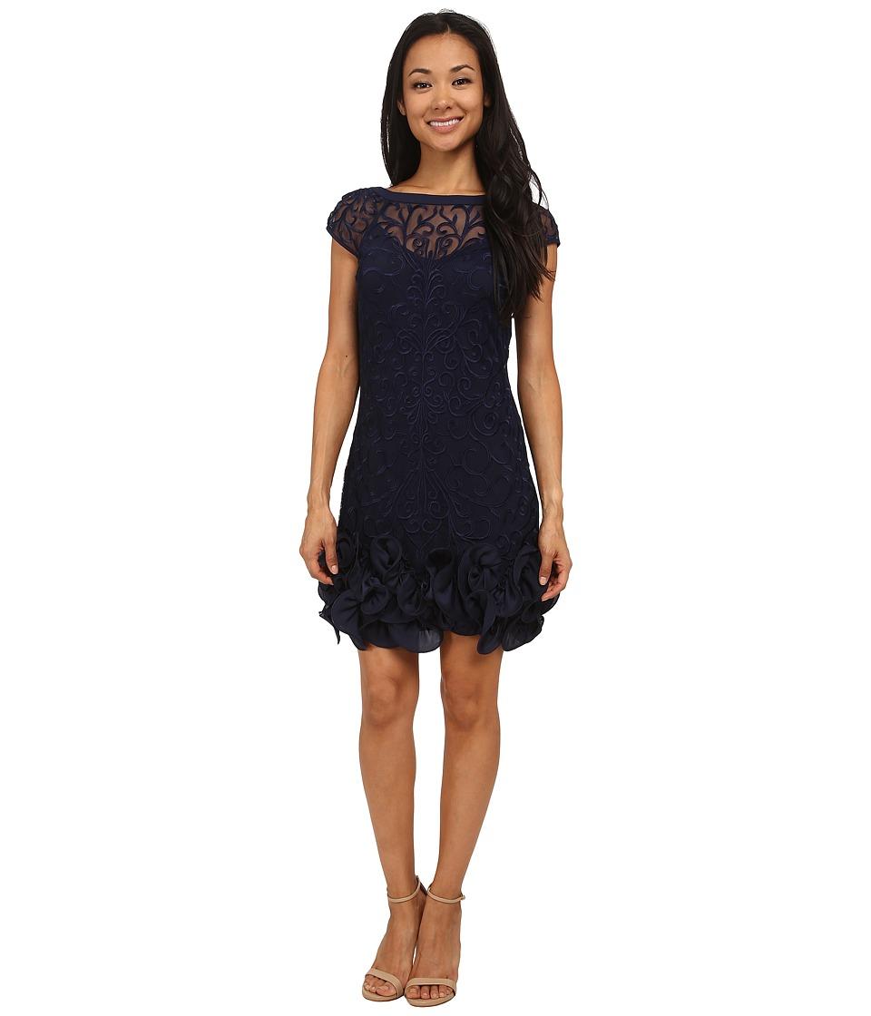 Jessica Simpson - Short Tiered Sleeve Dress with Ruffle at Hem (Navy) Women's Dress