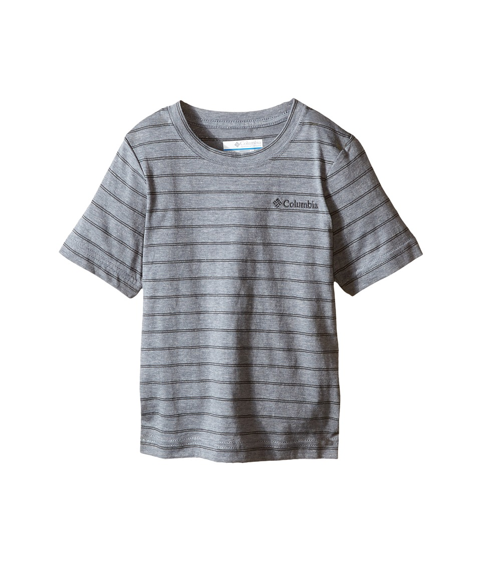 Columbia Kids - Out and About Stripe Crew (Little Kids/Big Kids) (Grey Ash) Boy's Short Sleeve Pullover