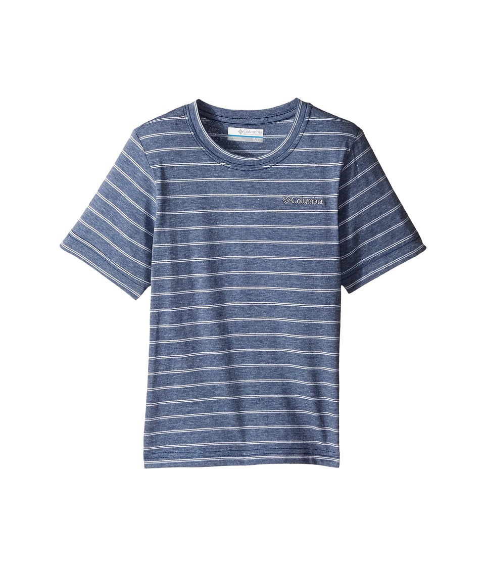 Columbia Kids - Out and About Stripe Crew (Little Kids/Big Kids) (Night Tide) Boy's Short Sleeve Pullover