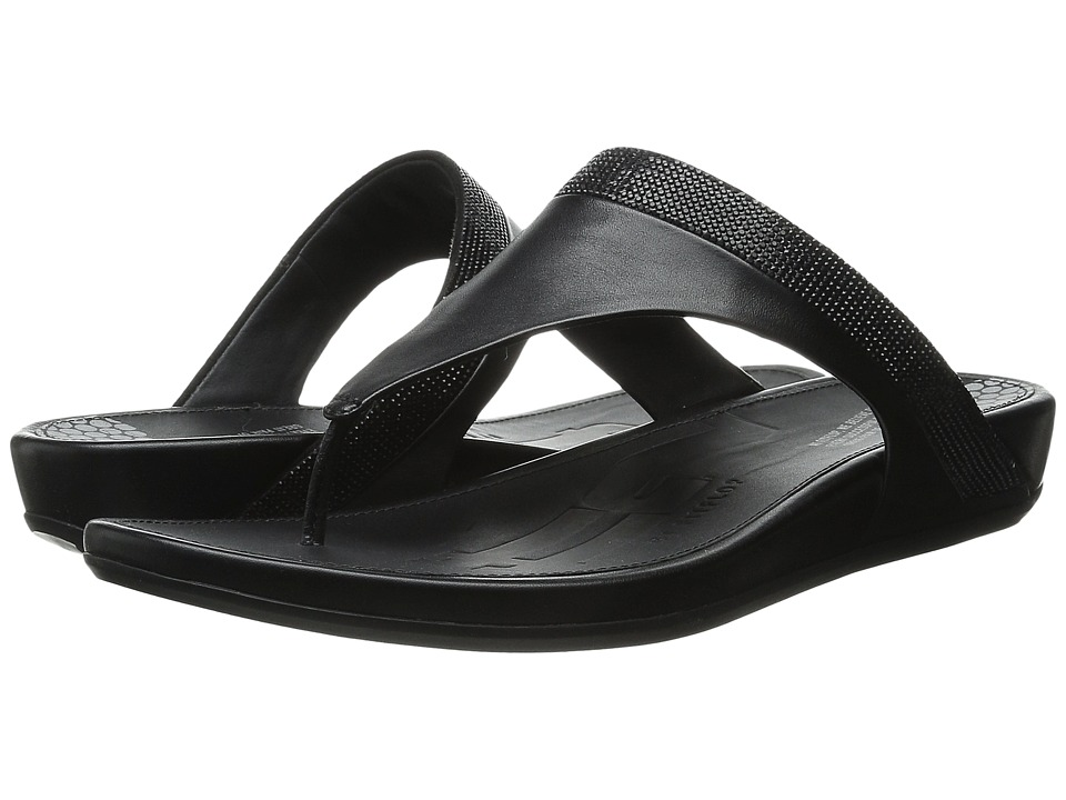 FitFlop - Banda Micro-Crystal Toe Post (All Black) Women's Shoes