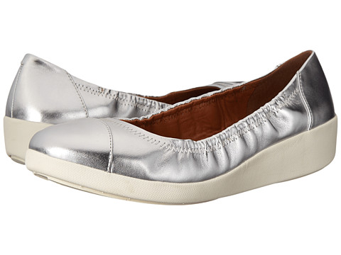 FitFlop - F-Pop Ballerina (Silver) Women's Shoes