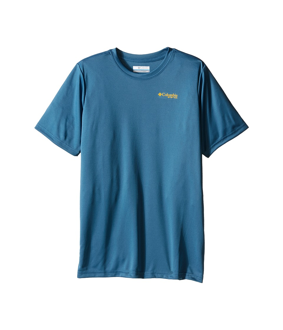 Columbia Kids - PFG Stacked Scales Graphic Tee (Little Kids/Big Kids) (Steel) Boy's Short Sleeve Pullover