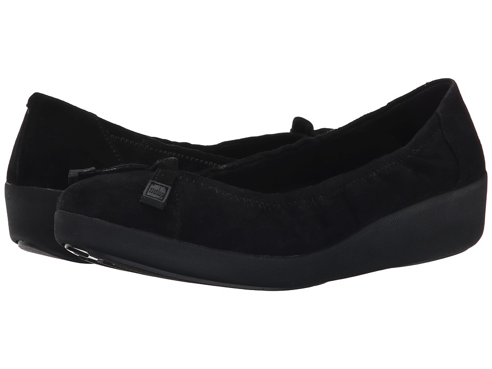 FitFlop - F-Pop Ballerina Suede (Black) Women's Shoes