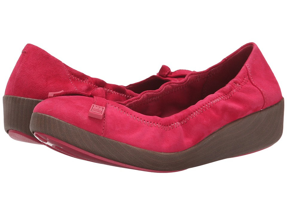 FitFlop - F-Pop Ballerina Suede (Raspberry) Women's Shoes