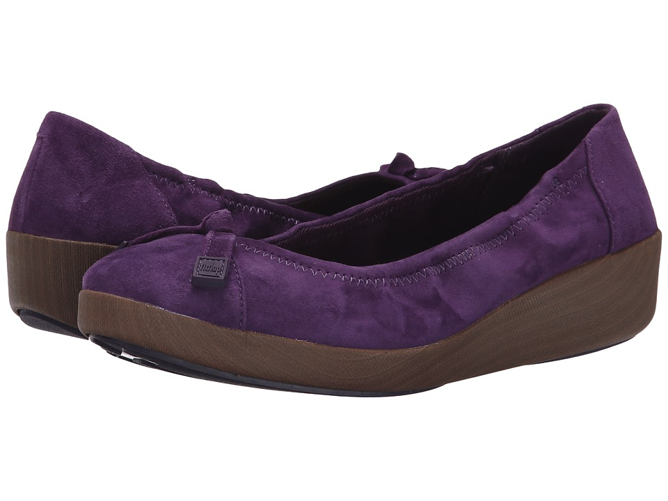 FitFlop - F-Pop Ballerina Suede (Pomp Purple) Women's Shoes