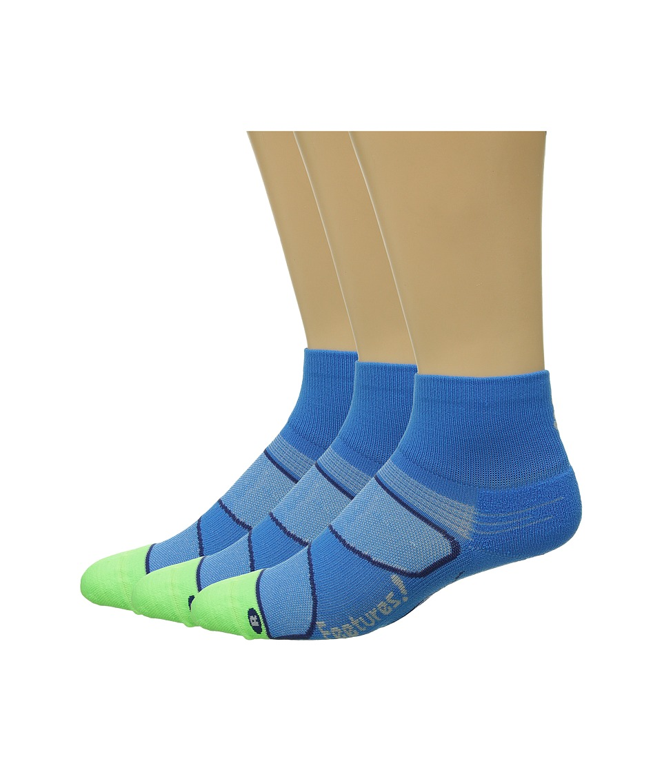 Feetures - Elite Light Cushion Quarter 3-Pair Pack (Brillant Blue/Silver) Quarter Length Socks Shoes